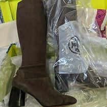 Tory Burch Sidney 70mm Boots Sage Brown Stretch Suede Tall Block Heel Size 11  Photo