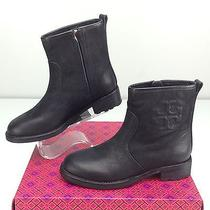 Tory Burch Simone Bootie Black Boots Size 5.5 M Ankle Logo Photo