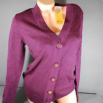 Tory Burch Simone Cardigan Sweater Merlot Wine Medium Nwt Photo