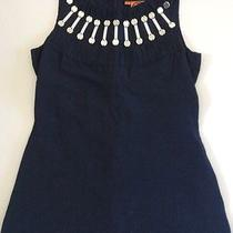 Tory Burch Size 2 Navy Blue Linen Silk Mirror Beaded Tank Camisole Top Sexy Photo