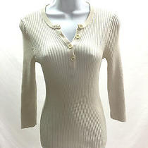 Tory Burch Size Xs Ladies Long Sleeve Henley Sweater Ivory Photo