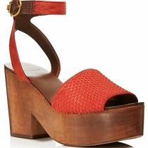 Tory Burch size7.5women's Camilla Calf Hair & Leather Platform Sandal Exotic Red Photo