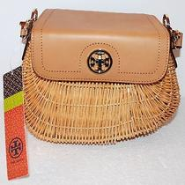 Tory Burch Small Lacquered Rattan Basket Beige Leather Top Photo