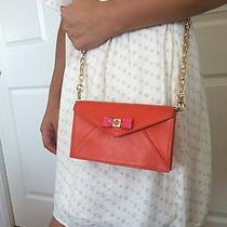 Tory Burch Small Purse/bag/clutch Leather Orange and Pink Bow New Photo