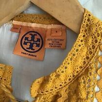 Tory Burch Sz 6 Cream Cotton & Gold Crochet Tassel Peasant Tunic Top Photo