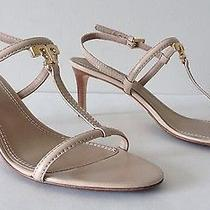 Tory Burch T Logo Kitten Heel Saffiano Leather Ankle Strap Sandals. Size 9 Photo