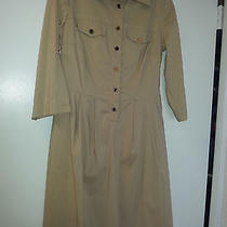Tory Burch Tan Cotton W 3/4 Sleeves That Roll Up  Nice Casual Aline Dress Sz 4  Photo