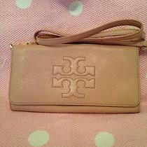 Tory Burch Thea Fold Over Cross Body Clutch Blush Pink Nude Rare Photo