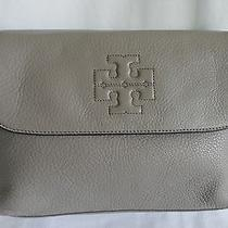 Tory Burch Thea Messenger Gray Leather Crossbody Handbag Photo