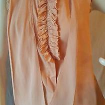 Tory Burch Top Blouse Sleeveless Blush Nude Ruffles Tie Silk Cotton Blend Size 2 Photo