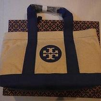 Tory Burch Tote Beach Book Diaper Bag Purse Reva Logo Handbag Blue Sale 235 New Photo
