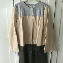 Tory Burch Tri-Color (Light Blue Blush Pink Brown) Leather Car Coat Size 8 Photo