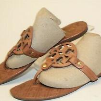 Tory Burch Used Womens Size 8.5 M Miller Leather Slip on Flat Thong Sandal Shoes Photo