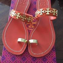 Tory Burch Val Flat Leather Sandal Flip Flop Poppy Red Orange Gold Size 7.5 Photo
