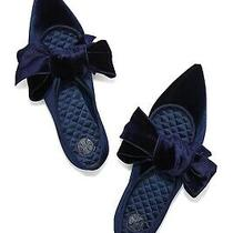 Tory Burch Velvet Clara Bow Flats in Navy.  Nwt. Size 5m. Msrp 428 Photo