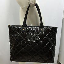 Tory Burch Vinyl Tote Purse Bag Back Quilted Large Very Deep & Roomy Interior   Photo