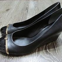 Tory Burch Wedge Shoes Pacey Cap Toe Patent Pumps Black Leather Gold Logo 9 Photo