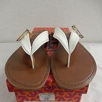 Tory Burch White Flat Thong Patent Leather Sandals Size 8.5 Nwb Photo