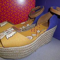 Tory Burch Women Elodie Sherri Wedge Espadrilles Sandals Platform Floral 9 New Photo