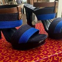 Tory Burch Women in Size  8. High Heel in Tory Navy and Cobalt/almond Color Photo