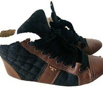 Tory Burch Women Oliver Quilted Flannel Lace Up High Top Sneakers  Brown Size 8 Photo