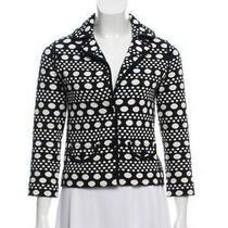 Tory Burch Women's Blue Knit Polka Dot Patterned Jacket Blazer Size Xs Photo
