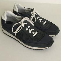 Tory Burch Womens Navy Blue Suede Athletic Sneakers T Logo Trainer Shoes Sz 6 Photo