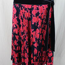 Tory Burch Women's Navy Pink Floral Print Knee Length Skirt Size 12 Photo