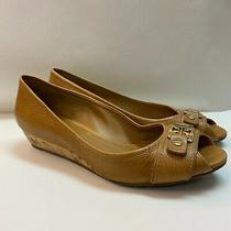 Tory Burch Women's Peep Toe Low Heel Cork Wedge Brown Size Ten 10 Photo