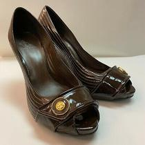 Tory Burch Women's Peep Toe Shiny Brown Wedges Size Eleven 11 Photo