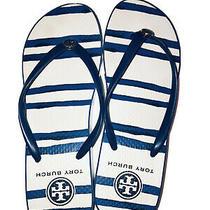 Tory Burch Women's Printed Cut Out Wedge Flip Flop Sandals Sz 7 Blue Stripe Photo