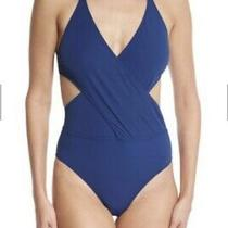 Tory Burch Women's Swimsuit Xs Capri Blue Solid Wrap One Piece Suit  Photo