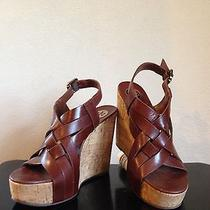 Tory Burch Womens Brown Leather Wedge Heels Sz 7.5 Photo