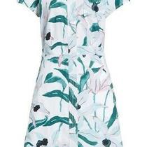 Tory Burch Womens Cotton Ivory Bloom Shirt Dress White Green Size 10 8 Photo