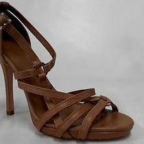 Tory Burch Womens Ring Ankle Strap Sandals Shoes 8 Leather Stiletto Strappy Tan Photo