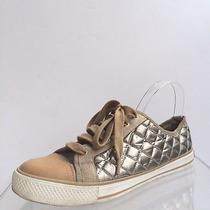 Tory Burch Womens Shoes Size 9.5 M Silver Brown Leather Fashion Sneakers  Photo
