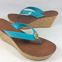 Tory Burch Womens Turquoise Wedge Thora Patent Calf Thong Sandals Shoes Sz 9.5 Photo