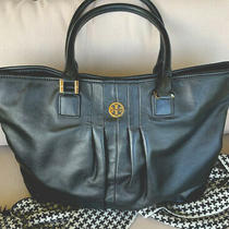 Tory Burch Xlarge Black Pleated Soft Leather Overnight Tote/handbagbeautiful Photo