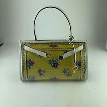 Tory Burch Yellow Floral Medium Needlepoint Lee Radzwill Bag W/ Clear Case Photo