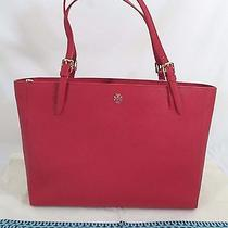 Tory Burch York Buckle Tote in Kir Royale Leather Nwt Style 22149613 W. Dust Bag Photo