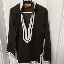 Toryburch Tunic Top 100% Cotton. Brown  With White Taping. Size 8 Photo
