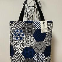 Tote Bag Blue & Black Japanese Hexies Fabric Tote Bag 100% Cotton Washable   Photo