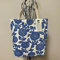 Tote Bag Blue Mums Handy Fabric Shopping Bag 100% Cotton Washable Made in Usa    Photo