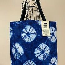 Tote Bag Lined Navy Shibori Design Inside Pockets 100% Cotton Made in Usa Photo
