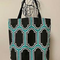 Tote Bag Teal & Black Handy Fabric Reusable Bag 100% Cotton Foldable Washable   Photo