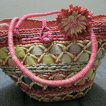 Tote Handbag/hobo Tote/busket/beach Bag Multi-Yellow/pink Woven Natural Straw Photo