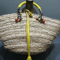 Tote Handbag/hobo Tote/busket/beach Bag Yellow Woven Straw Genuine Leather Italy Photo
