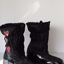 Totes Tiffany Faux Fur Lined Toddler Girl's Boots Size 4m Black With Hearts Photo