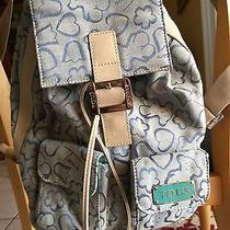 Tous Rare Backpack Purse Bag Blue W/tiffany blue& Bear Logo Pattern W/hearts Photo