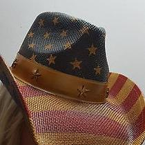 Toyo Vintage American Flag Star Studded Straw Usa Cowboy Hat Nwt Free Shipping Photo